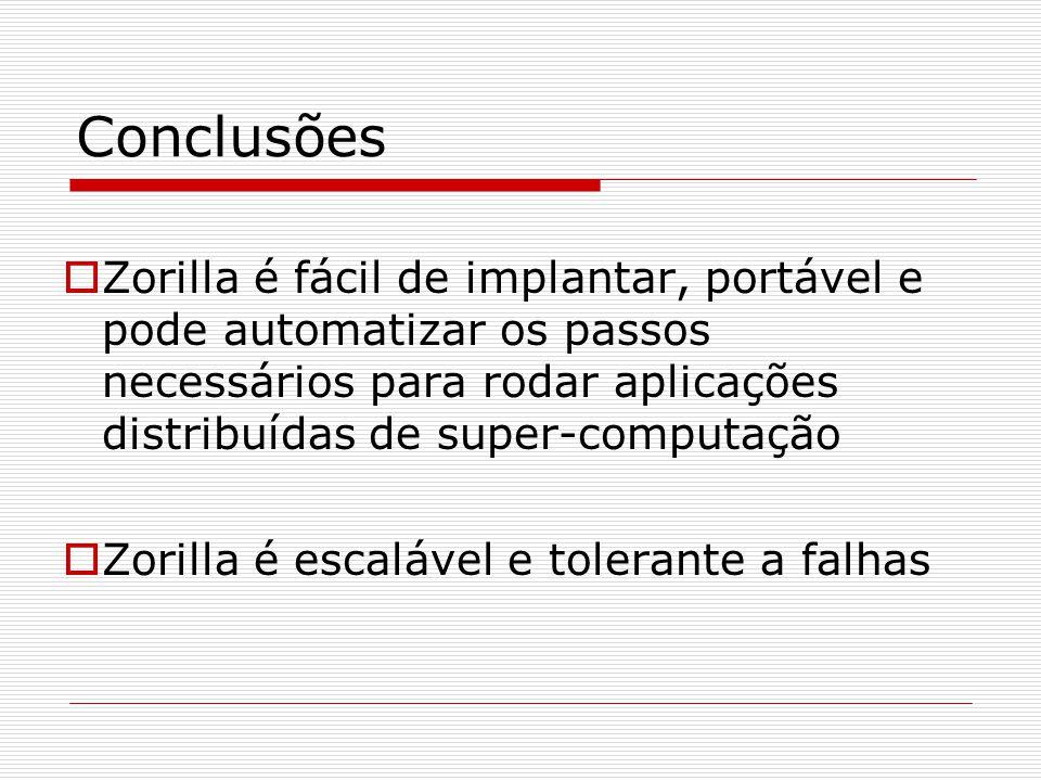 Conclusões  Zorilla é fácil de implantar, portável e pode automatizar os passos necessários para rodar aplicações distribuídas de super-computação  Zorilla é escalável e tolerante a falhas