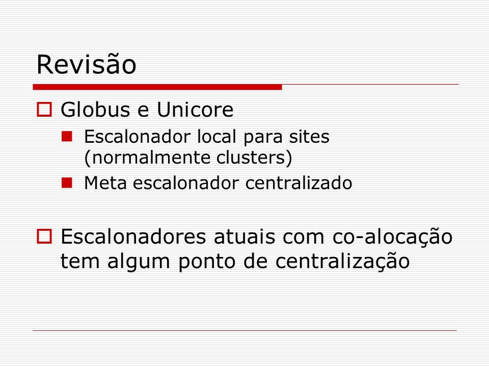 Revisão  Globus e Unicore Escalonador local para sites (normalmente clusters) Meta escalonador centralizado  Escalonadores atuais com co-alocação tem algum ponto de centralização