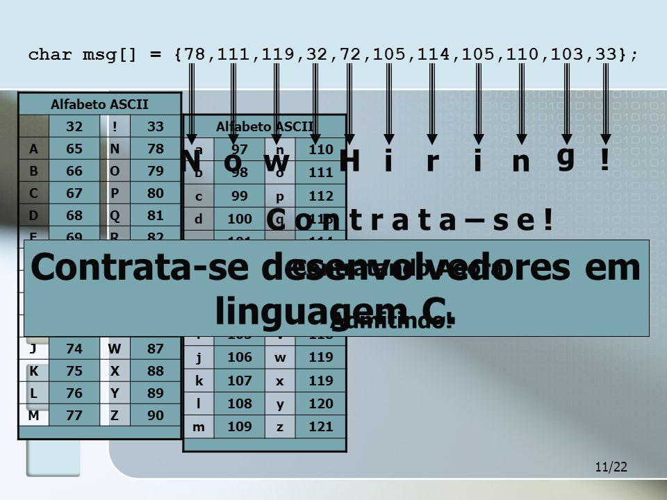 11/22 char msg[] = {78,111,119,32,72,105,114,105,110,103,33}; Alfabeto ASCII 32!33 A65N78 B66O79 C67P80 D68Q81 E69R82 F70S83 G71T84 H72U85 I73V86 J74W87 K75X88 L76Y89 M77Z90 Alfabeto ASCII a97n110 b98o111 c99p112 d100q113 e101r114 f102s115 g103t116 h104u117 i105v118 j106w119 k107x119 l108y120 m109z121 N owH i ri n g .