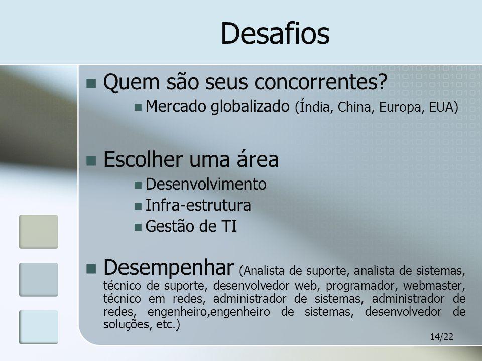 14/22 Desafios Quem são seus concorrentes? Mercado globalizado (Índia, China, Europa, EUA) Escolher uma área Desenvolvimento Infra-estrutura Gestão de