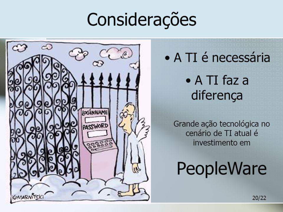 20/22 Considerações A TI é necessária A TI faz a diferença Grande ação tecnológica no cenário de TI atual é investimento em PeopleWare