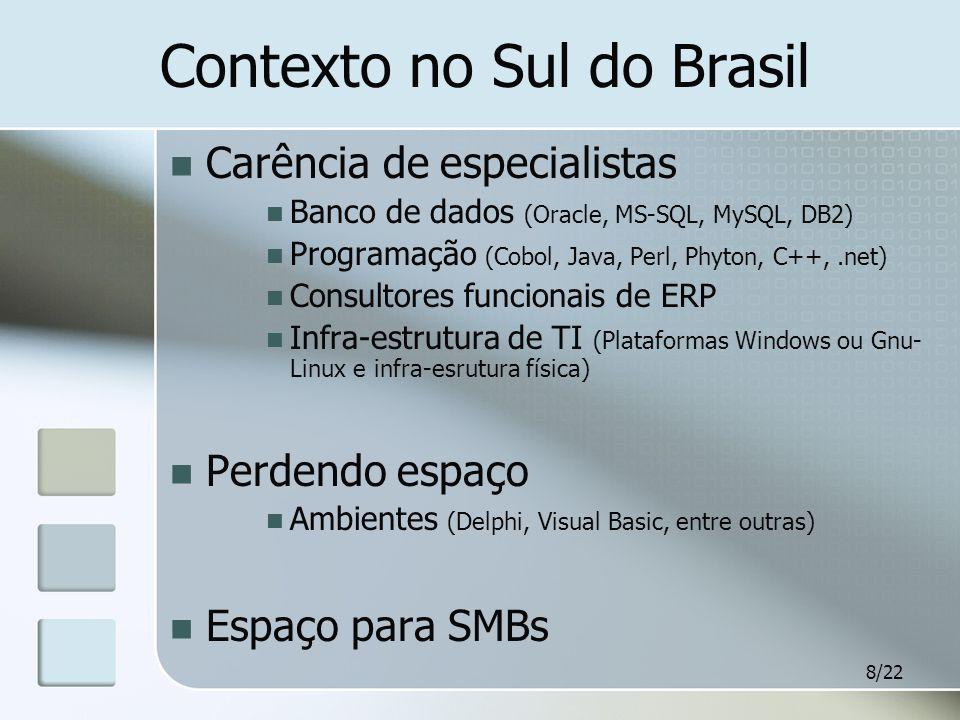 8/22 Contexto no Sul do Brasil Carência de especialistas Banco de dados (Oracle, MS-SQL, MySQL, DB2) Programação (Cobol, Java, Perl, Phyton, C++,.net) Consultores funcionais de ERP Infra-estrutura de TI (Plataformas Windows ou Gnu- Linux e infra-esrutura física) Perdendo espaço Ambientes (Delphi, Visual Basic, entre outras) Espaço para SMBs