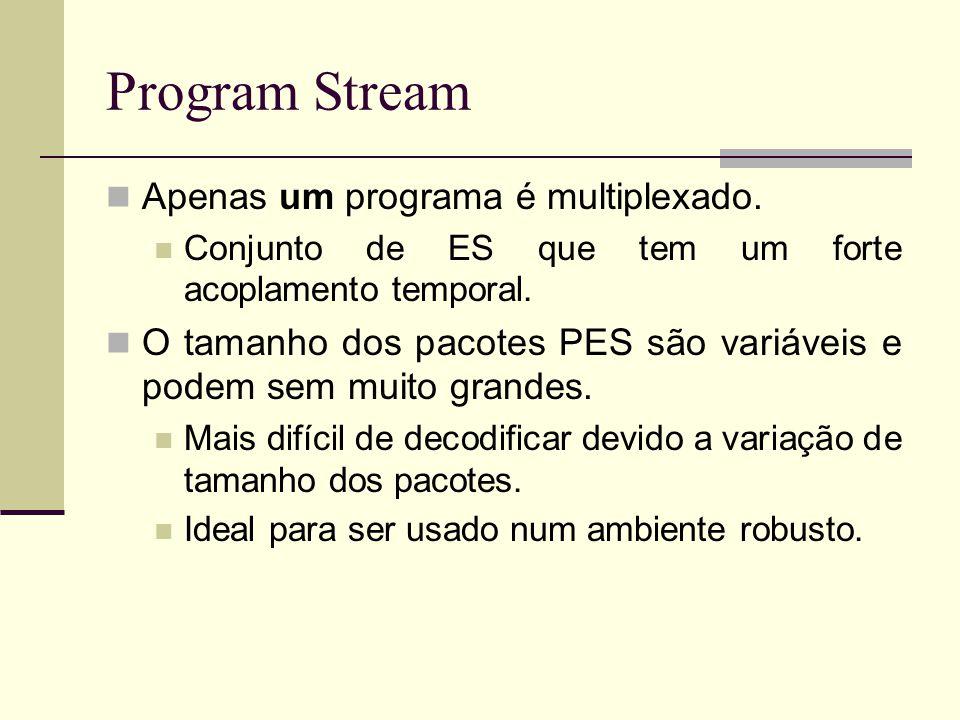 Program Stream Apenas um programa é multiplexado. Conjunto de ES que tem um forte acoplamento temporal. O tamanho dos pacotes PES são variáveis e pode