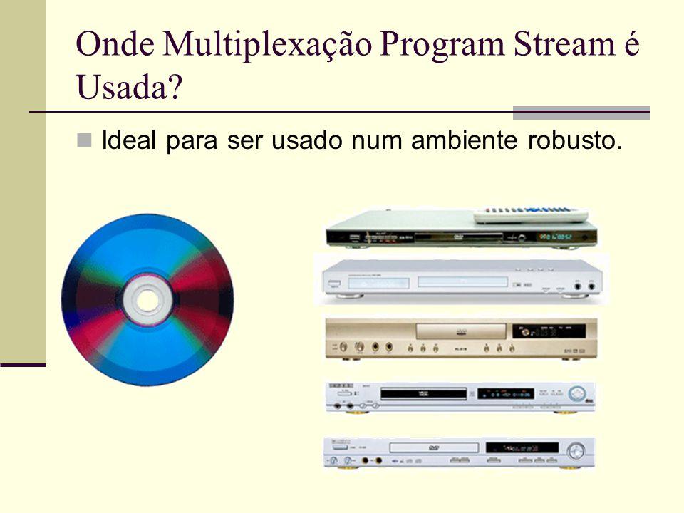 Onde Multiplexação Program Stream é Usada? Ideal para ser usado num ambiente robusto.