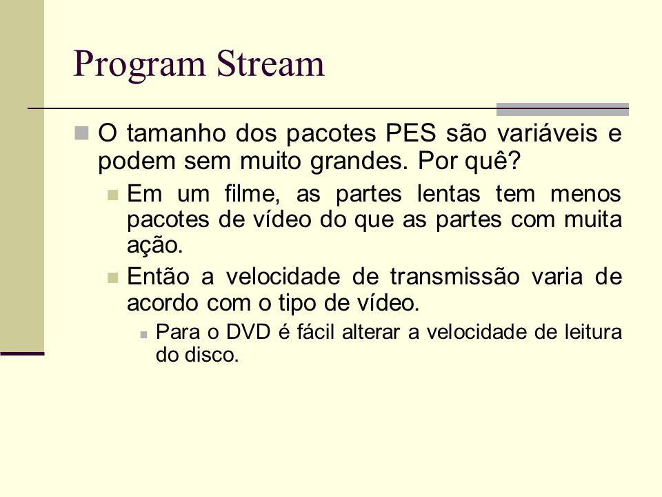 Program Stream O tamanho dos pacotes PES são variáveis e podem sem muito grandes. Por quê? Em um filme, as partes lentas tem menos pacotes de vídeo do