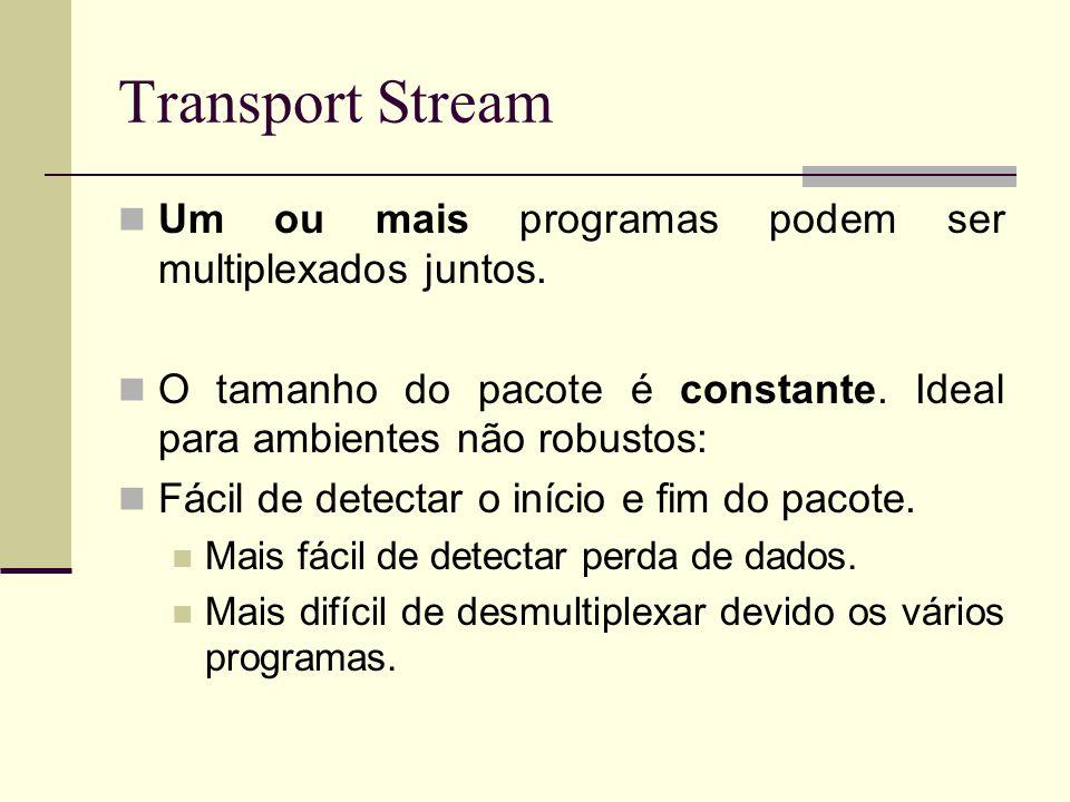 Transport Stream Um ou mais programas podem ser multiplexados juntos. O tamanho do pacote é constante. Ideal para ambientes não robustos: Fácil de det