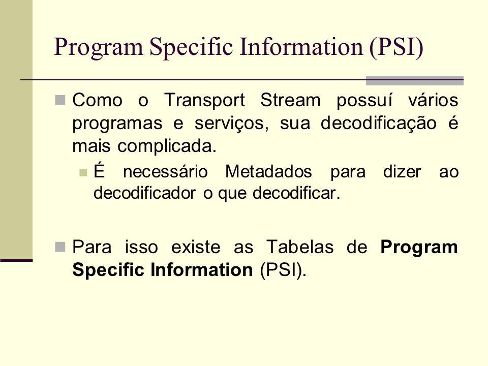 Program Specific Information (PSI) Como o Transport Stream possuí vários programas e serviços, sua decodificação é mais complicada. É necessário Metad