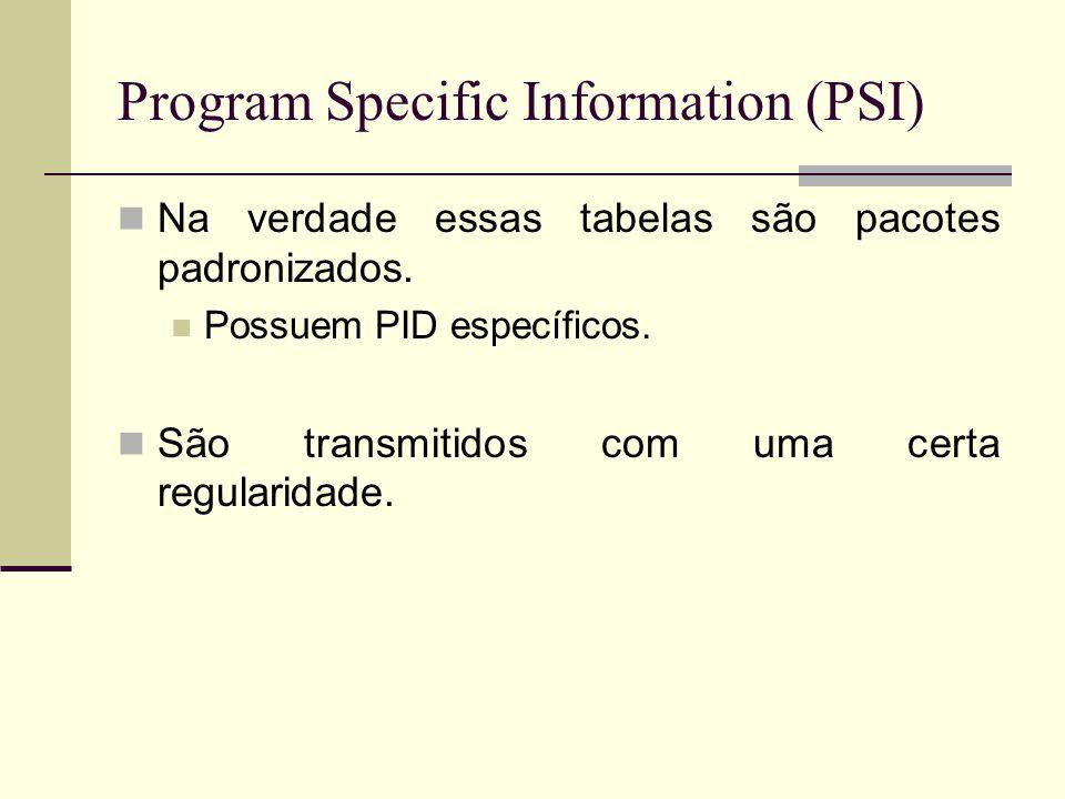 Program Specific Information (PSI) Na verdade essas tabelas são pacotes padronizados. Possuem PID específicos. São transmitidos com uma certa regulari
