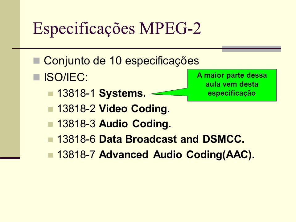 Especificações MPEG-2 Conjunto de 10 especificações ISO/IEC: 13818-1 Systems. 13818-2 Video Coding. 13818-3 Audio Coding. 13818-6 Data Broadcast and D