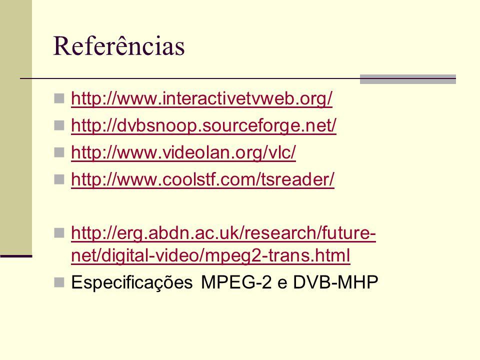 Referências http://www.interactivetvweb.org/ http://dvbsnoop.sourceforge.net/ http://www.videolan.org/vlc/ http://www.coolstf.com/tsreader/ http://erg