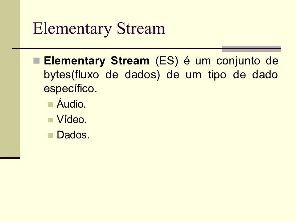 Elementary Stream Elementary Stream (ES) é um conjunto de bytes(fluxo de dados) de um tipo de dado específico. Áudio. Vídeo. Dados.
