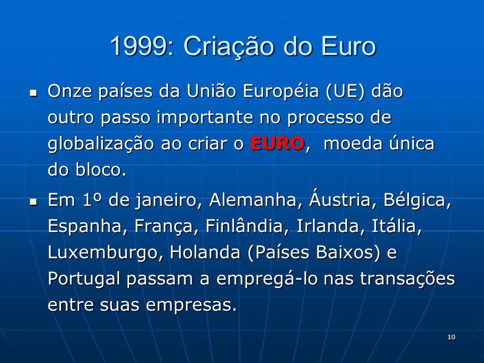10 1999: Criação do Euro Onze países da União Européia (UE) dão outro passo importante no processo de globalização ao criar o EURO, moeda única do blo