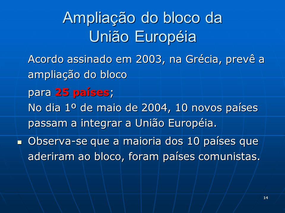 14 Ampliação do bloco da União Européia Acordo assinado em 2003, na Grécia, prevê a ampliação do bloco para 25 países; No dia 1º de maio de 2004, 10 n