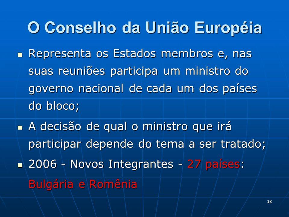 18 O Conselho da União Européia Representa os Estados membros e, nas suas reuniões participa um ministro do governo nacional de cada um dos países do