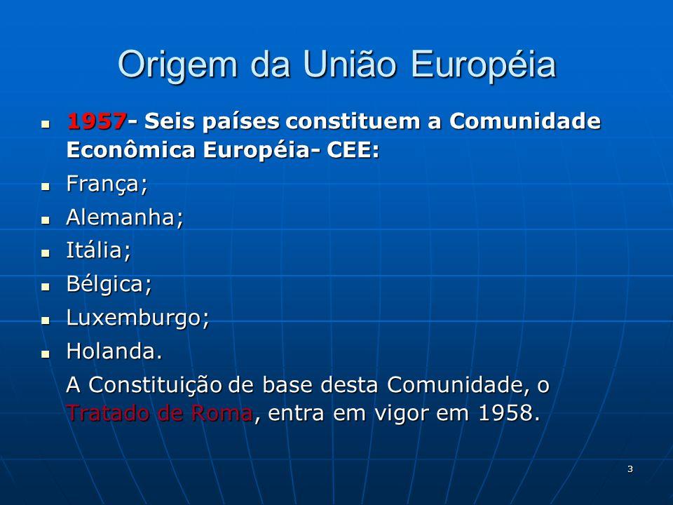 4 1973- A Europa dos nove países Ingressam no Mercado Comum Europeu : Reino UnidoReino Unido IrlandaIrlanda DinamarcaDinamarca