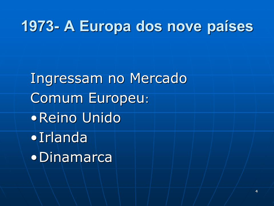 5 O início da União Monetária O início da União Monetária 1979:É criado o ECU( European Currency Unit ou Unidade Monetária Européia), constituída por uma cesta de moedas dos países integrantes da CEE.