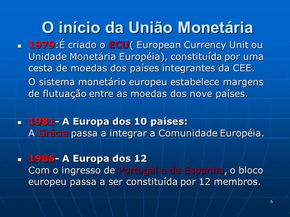 5 O início da União Monetária O início da União Monetária 1979:É criado o ECU( European Currency Unit ou Unidade Monetária Européia), constituída por