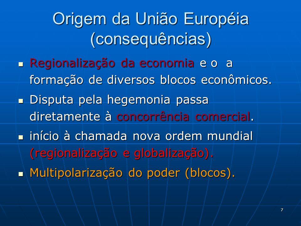 7 Origem da União Européia (consequências) Regionalização da economia e o a formação de diversos blocos econômicos. Regionalização da economia e o a f