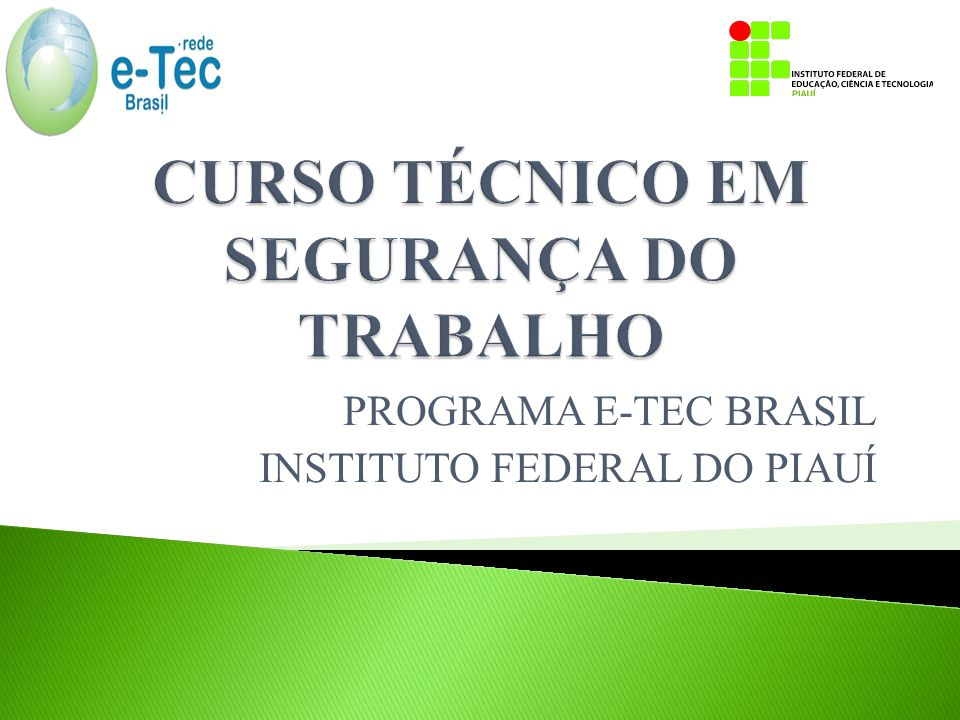 PROGRAMA E-TEC BRASIL INSTITUTO FEDERAL DO PIAUÍ