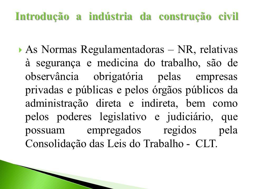  As Normas Regulamentadoras – NR, relativas à segurança e medicina do trabalho, são de observância obrigatória pelas empresas privadas e públicas e p