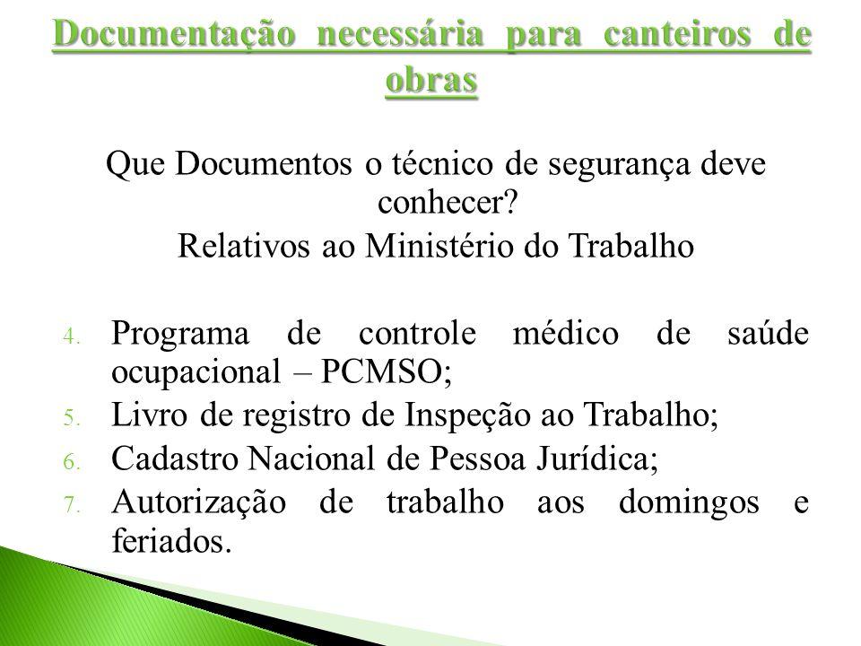 Que Documentos o técnico de segurança deve conhecer? Relativos ao Ministério do Trabalho 4. Programa de controle médico de saúde ocupacional – PCMSO;