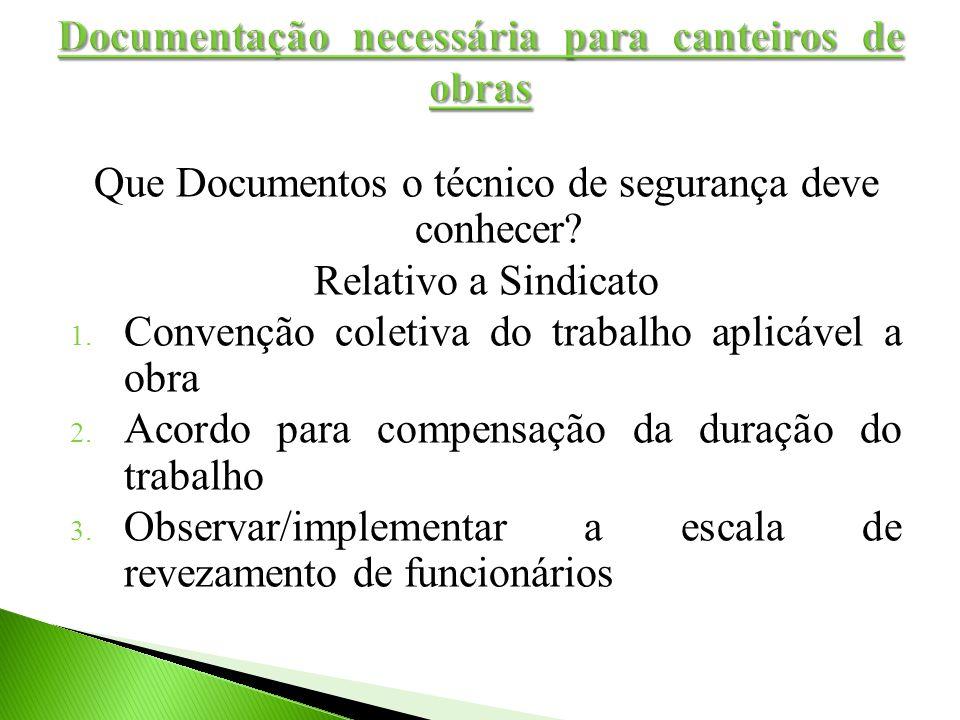 Que Documentos o técnico de segurança deve conhecer? Relativo a Sindicato 1. Convenção coletiva do trabalho aplicável a obra 2. Acordo para compensaçã