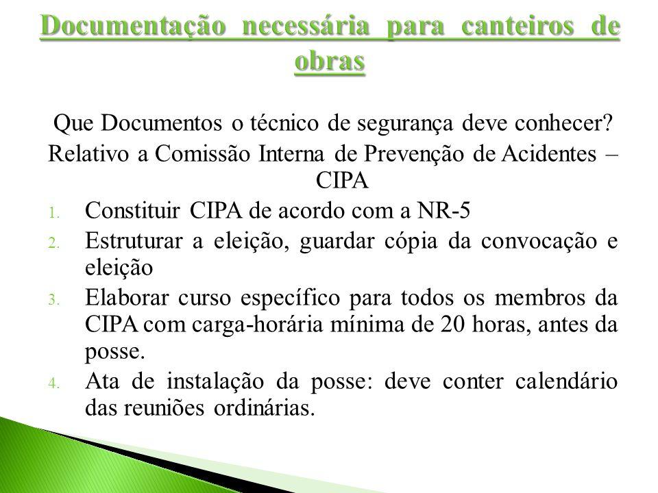 Que Documentos o técnico de segurança deve conhecer? Relativo a Comissão Interna de Prevenção de Acidentes – CIPA 1. Constituir CIPA de acordo com a N