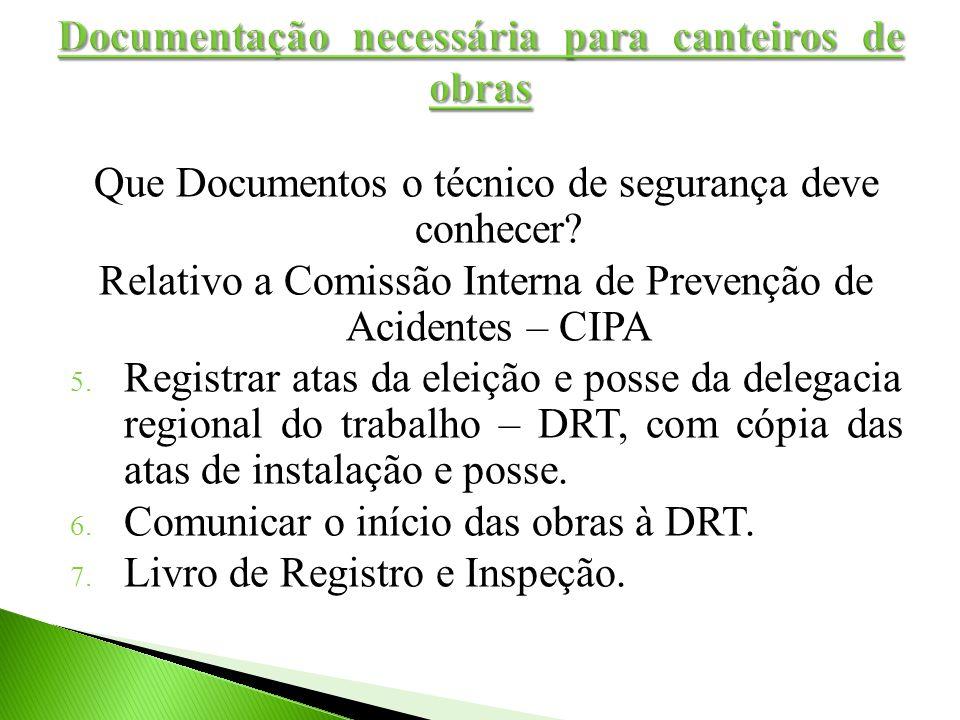 Que Documentos o técnico de segurança deve conhecer? Relativo a Comissão Interna de Prevenção de Acidentes – CIPA 5. Registrar atas da eleição e posse