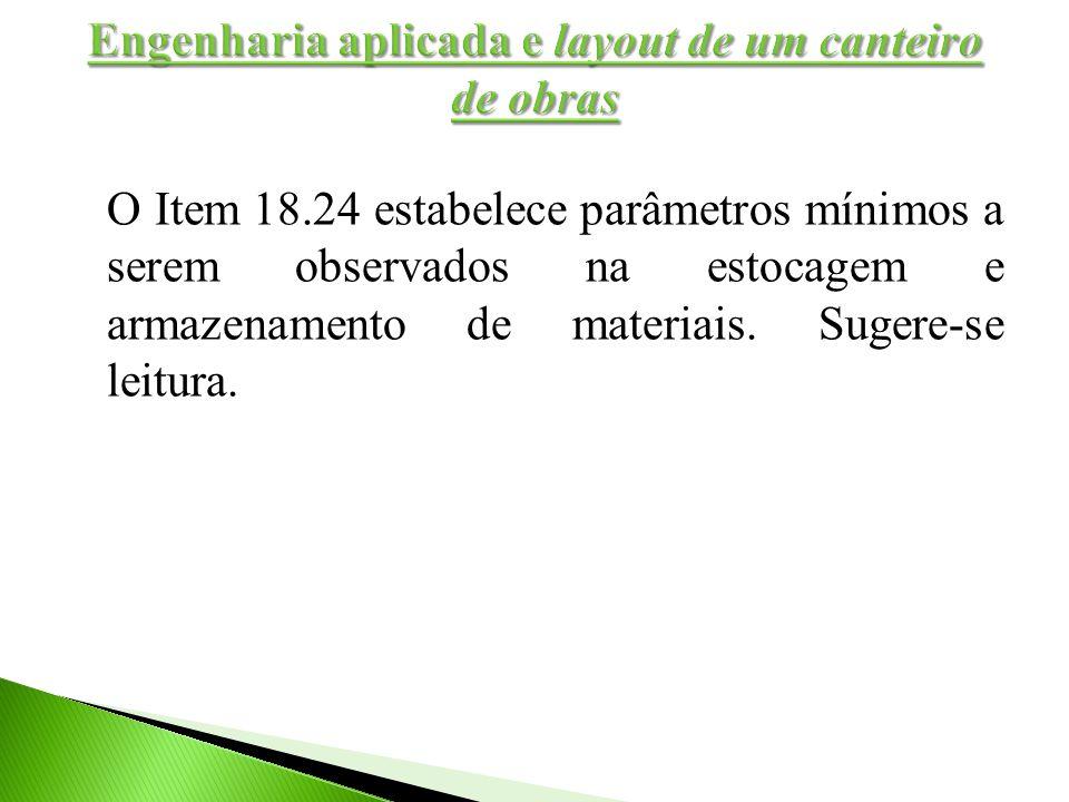 O Item 18.24 estabelece parâmetros mínimos a serem observados na estocagem e armazenamento de materiais. Sugere-se leitura.
