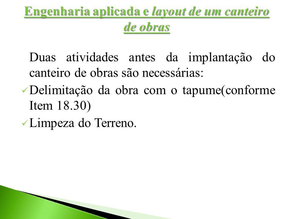 Duas atividades antes da implantação do canteiro de obras são necessárias: Delimitação da obra com o tapume(conforme Item 18.30) Limpeza do Terreno.
