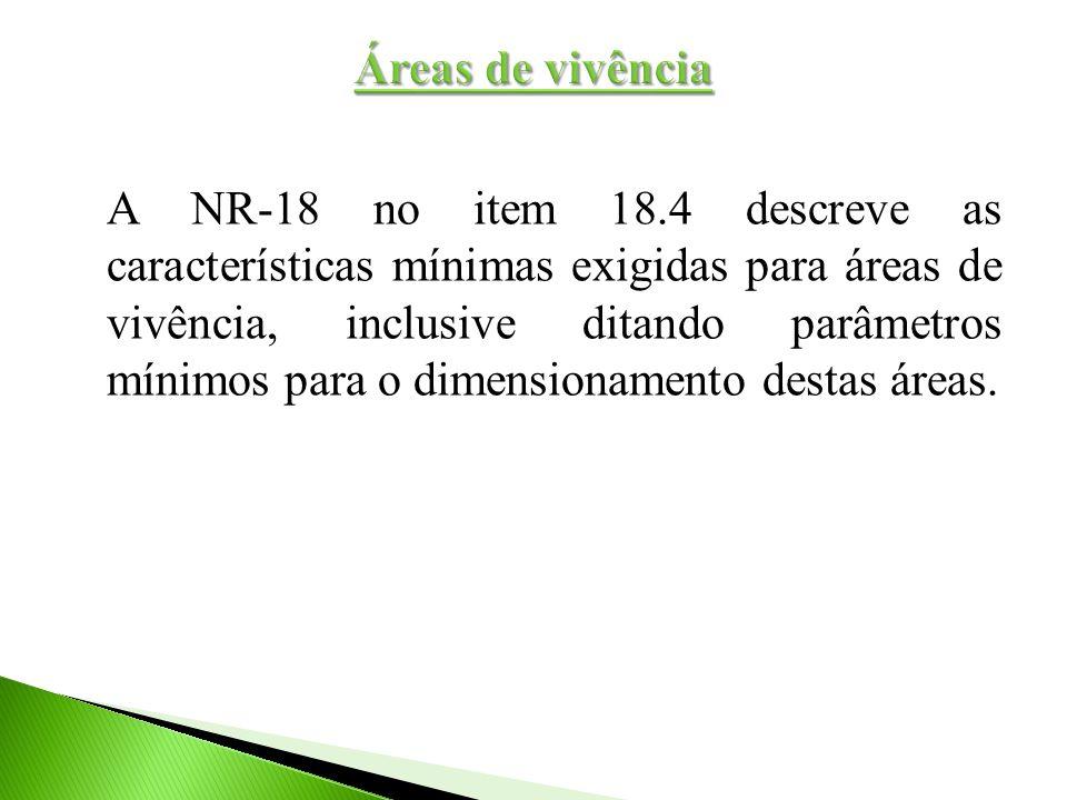 A NR-18 no item 18.4 descreve as características mínimas exigidas para áreas de vivência, inclusive ditando parâmetros mínimos para o dimensionamento