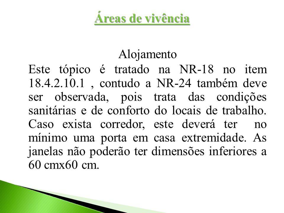Alojamento Este tópico é tratado na NR-18 no item 18.4.2.10.1, contudo a NR-24 também deve ser observada, pois trata das condições sanitárias e de con
