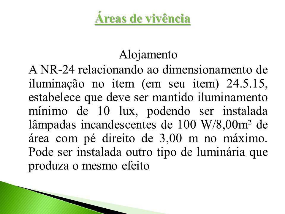 Alojamento A NR-24 relacionando ao dimensionamento de iluminação no item (em seu item) 24.5.15, estabelece que deve ser mantido iluminamento mínimo de
