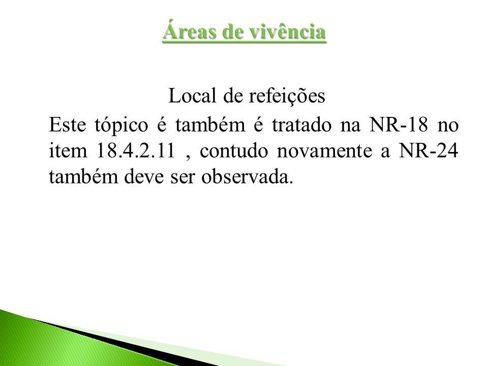 Local de refeições Este tópico é também é tratado na NR-18 no item 18.4.2.11, contudo novamente a NR-24 também deve ser observada.