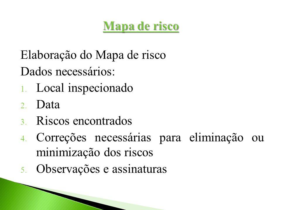 Elaboração do Mapa de risco Dados necessários: 1. Local inspecionado 2. Data 3. Riscos encontrados 4. Correções necessárias para eliminação ou minimiz