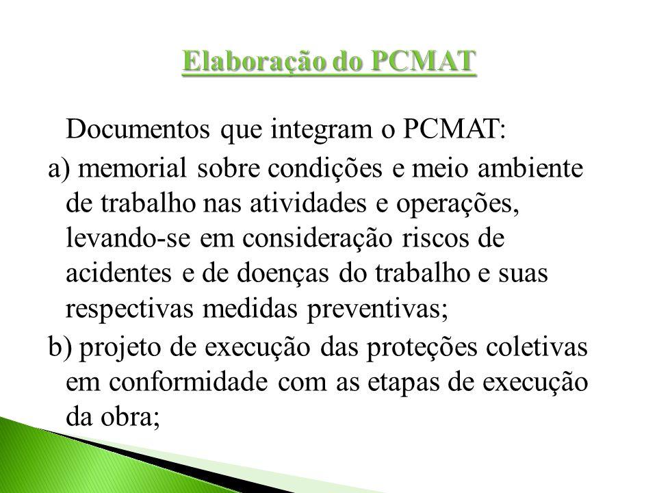 Documentos que integram o PCMAT: a) memorial sobre condições e meio ambiente de trabalho nas atividades e operações, levando-se em consideração riscos