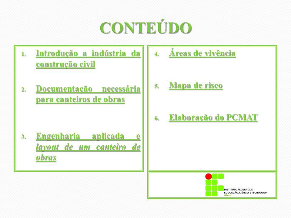 1. Introdução a indústria da construção civil 2. Documentação necessária para canteiros de obras 3. Engenharia aplicada e layout de um canteiro de obr