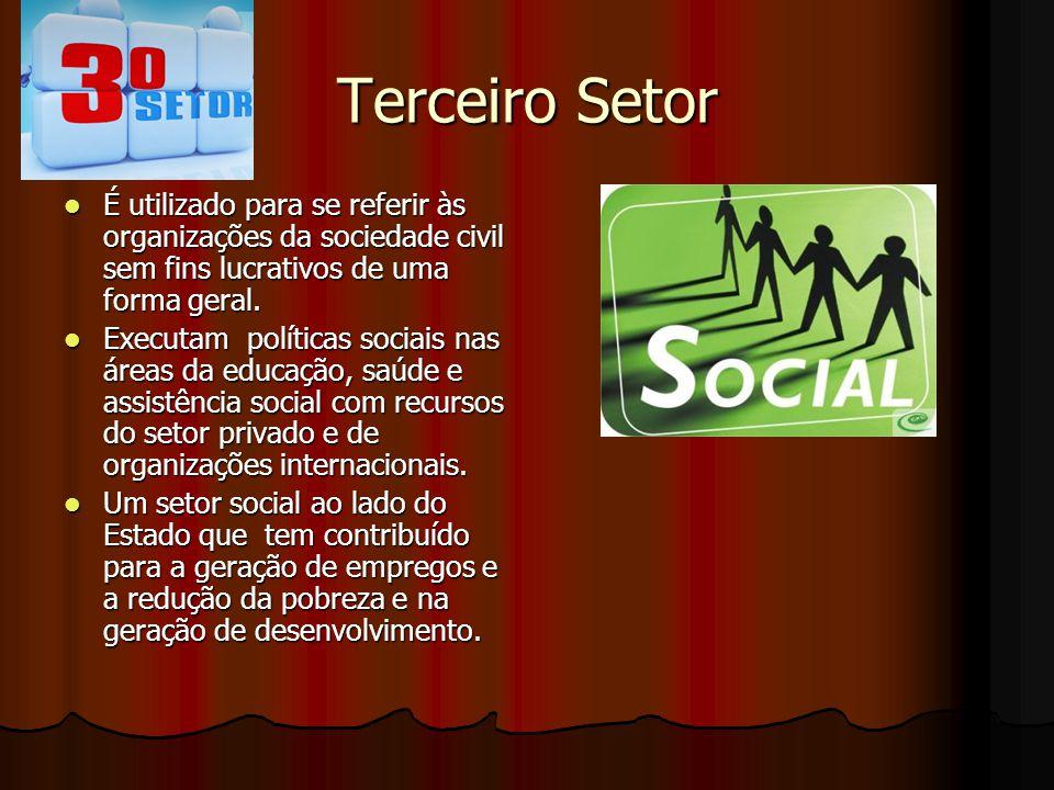 Terceiro Setor É utilizado para se referir às organizações da sociedade civil sem fins lucrativos de uma forma geral. É utilizado para se referir às o