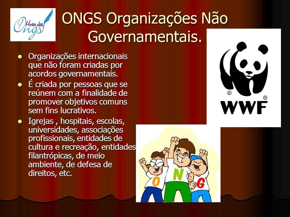 ONGS Organizações Não Governamentais. Organizações internacionais que não foram criadas por acordos governamentais. Organizações internacionais que nã