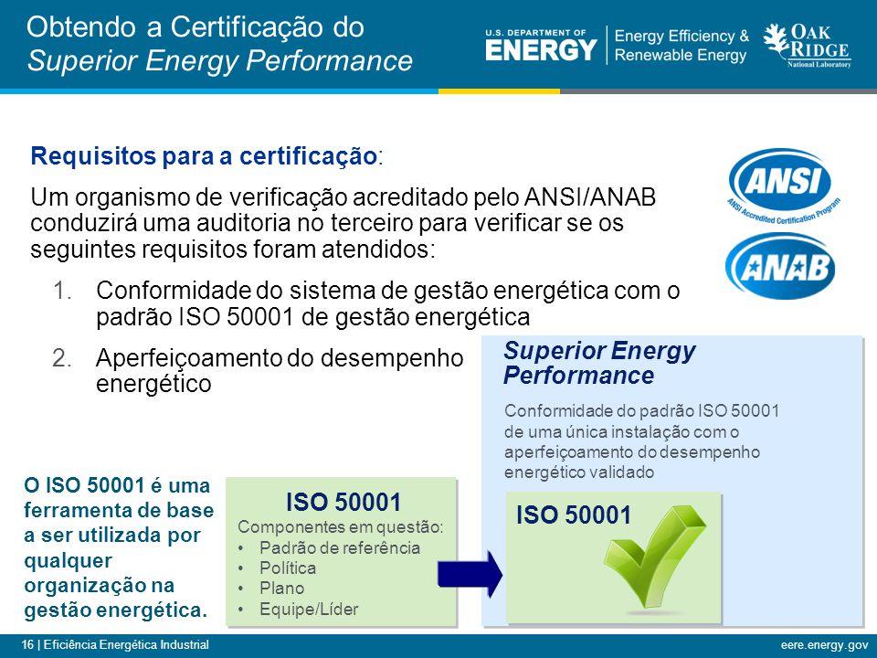 16 | Eficiência Energética Industrialeere.energy.gov Requisitos para a certificação: Um organismo de verificação acreditado pelo ANSI/ANAB conduzirá u
