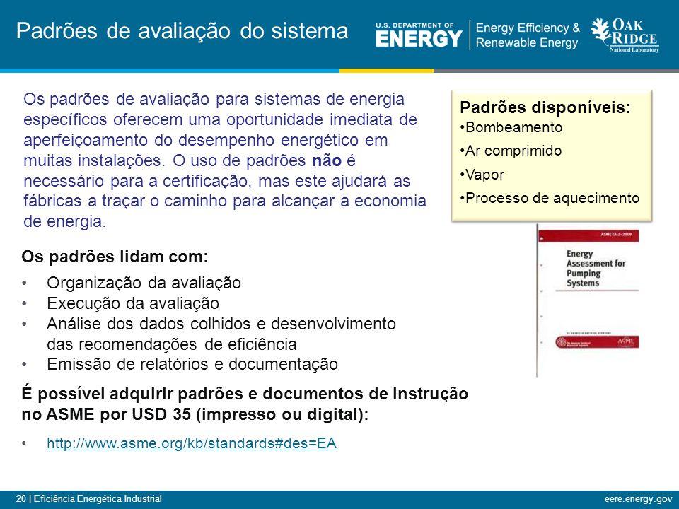 20 | Eficiência Energética Industrialeere.energy.gov Padrões de avaliação do sistema Os padrões lidam com: Organização da avaliação Execução da avalia
