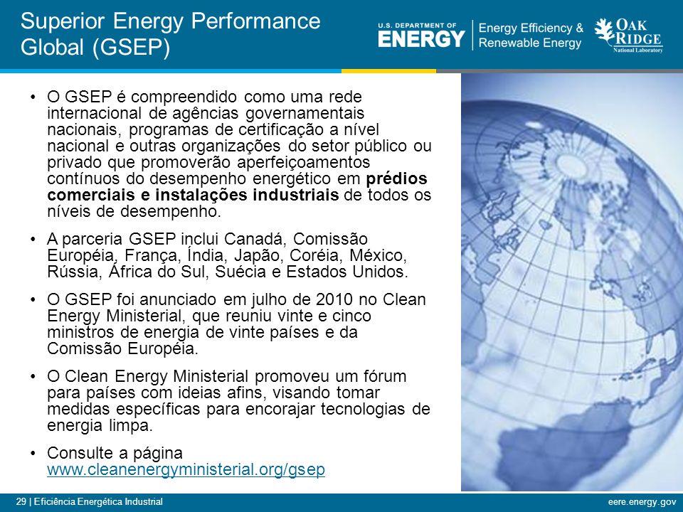 29 | Eficiência Energética Industrialeere.energy.gov Superior Energy Performance Global (GSEP) O GSEP é compreendido como uma rede internacional de ag
