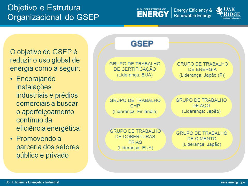 30 | Eficiência Energética Industrialeere.energy.gov GRUPO DE TRABALHO DE CERTIFICAÇÃO (Liderança: EUA) GRUPO DE TRABALHO DE ENERGIA (Liderança: Japão
