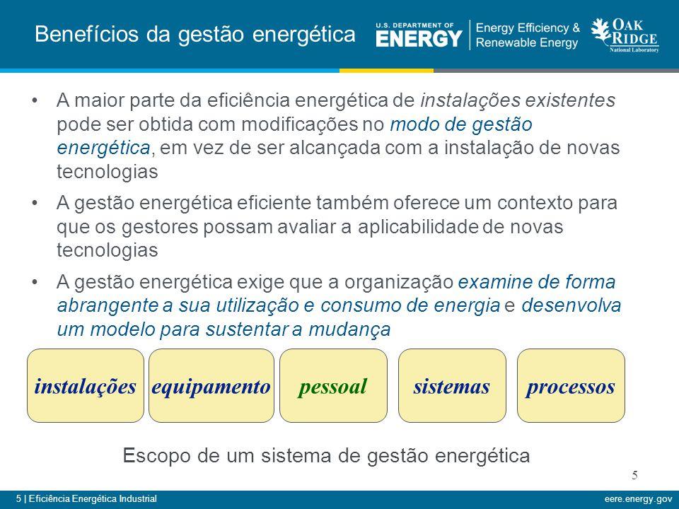 5 | Eficiência Energética Industrialeere.energy.gov 5 Benefícios da gestão energética A maior parte da eficiência energética de instalações existentes
