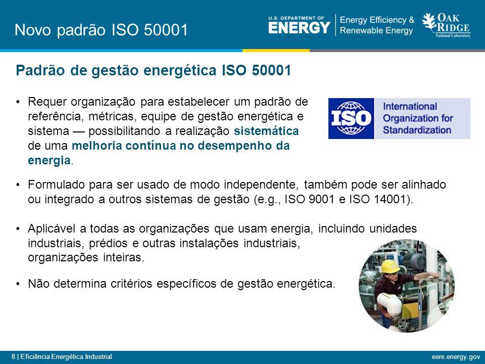 8 | Eficiência Energética Industrialeere.energy.gov Requer organização para estabelecer um padrão de referência, métricas, equipe de gestão energética