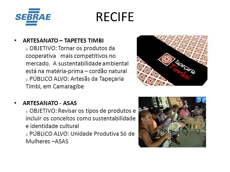 RECIFE ARTESANATO – TAPETES TIMBI o OBJETIVO: Tornar os produtos da cooperativa mais competitivos no mercado. A sustentabilidade ambiental está na mat