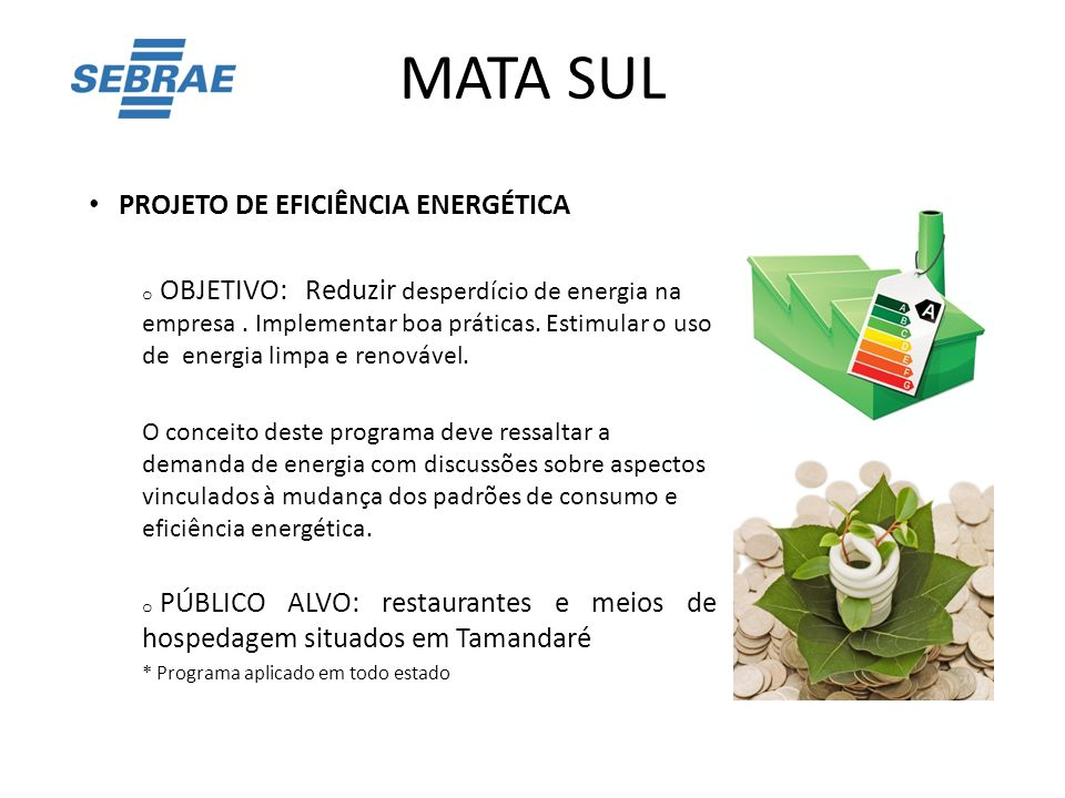 MATA SUL PROJETO DE EFICIÊNCIA ENERGÉTICA o OBJETIVO: Reduzir desperdício de energia na empresa. Implementar boa práticas. Estimular o uso de energia
