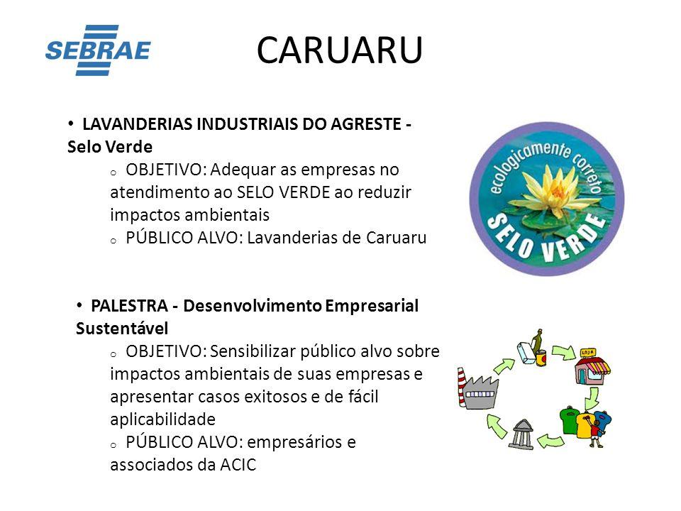 CARUARU LAVANDERIAS INDUSTRIAIS DO AGRESTE - Selo Verde o OBJETIVO: Adequar as empresas no atendimento ao SELO VERDE ao reduzir impactos ambientais o