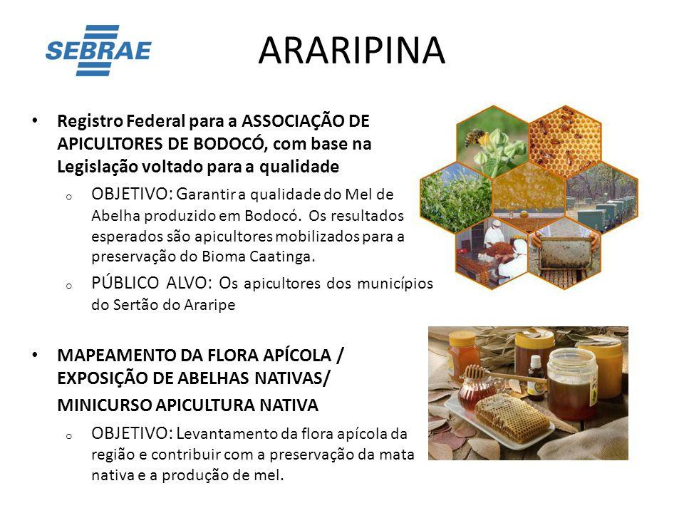ARARIPINA Registro Federal para a ASSOCIAÇÃO DE APICULTORES DE BODOCÓ, com base na Legislação voltado para a qualidade o OBJETIVO: G arantir a qualida
