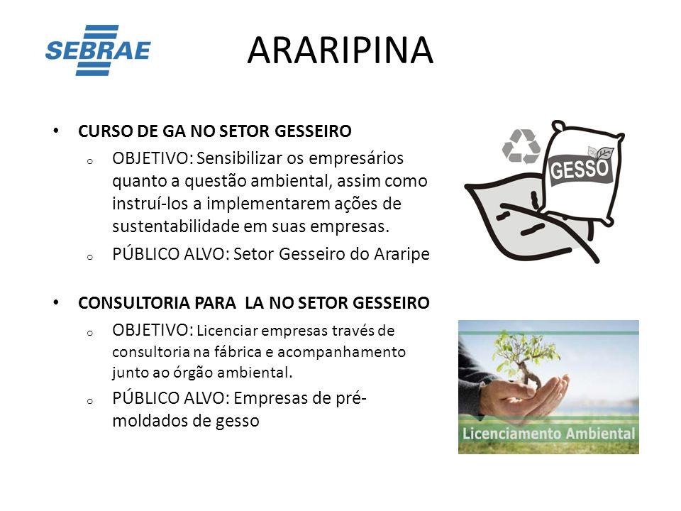 ARARIPINA CURSO DE GA NO SETOR GESSEIRO o OBJETIVO: Sensibilizar os empresários quanto a questão ambiental, assim como instruí-los a implementarem açõ